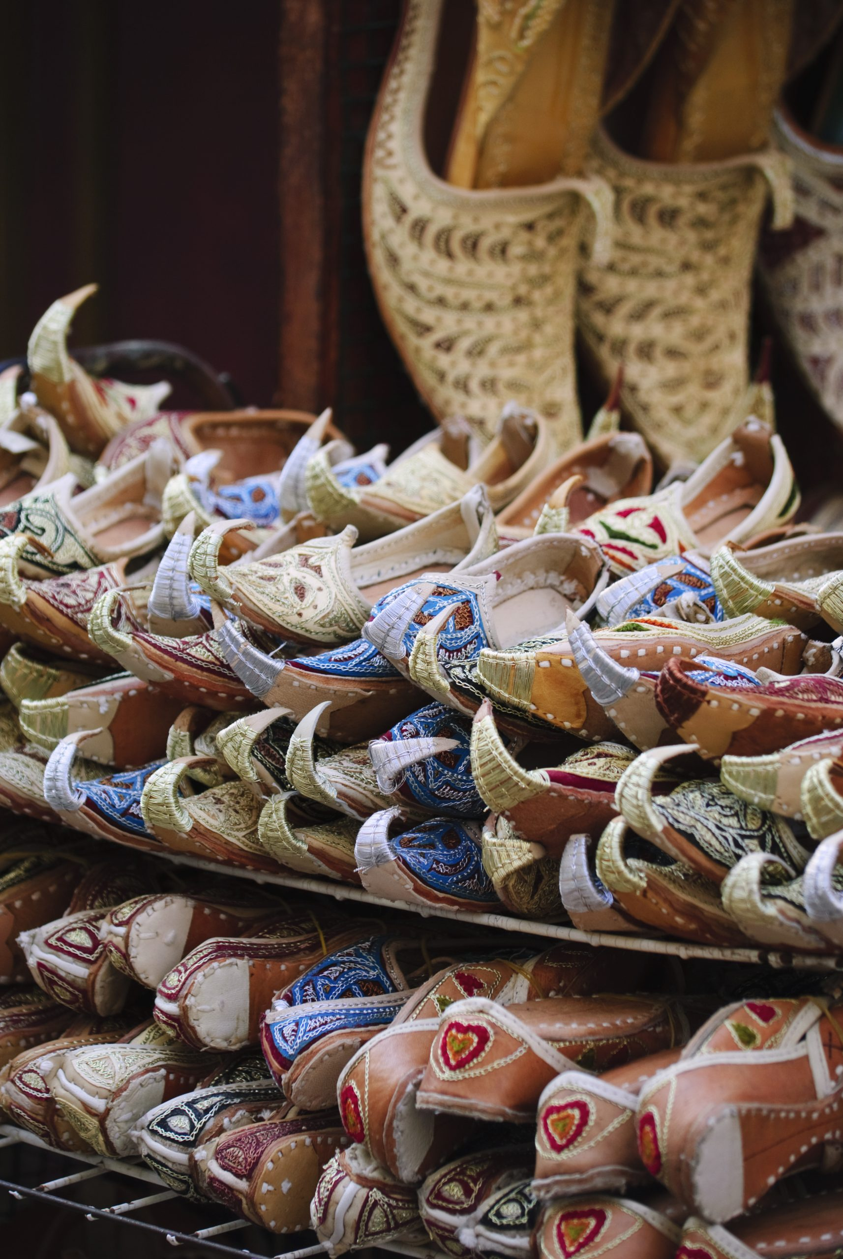 arabic shoes selling at old souk in dubai