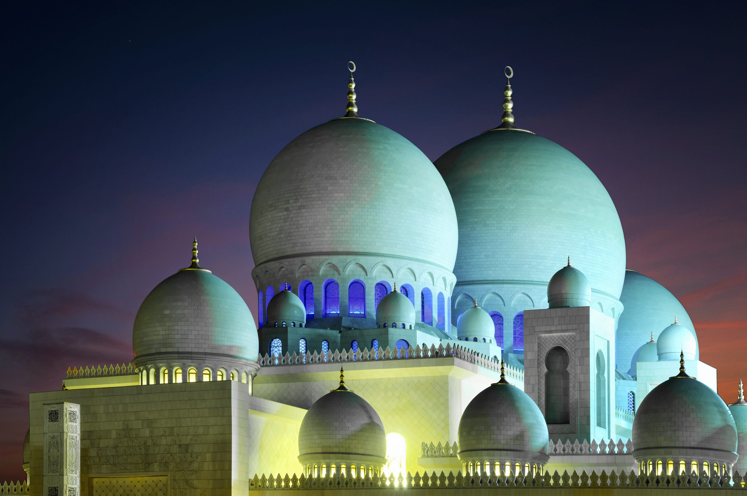 Detail of mosque domes. Amazing night view at Mosque, Abu Dhabi, United Arab Emirates