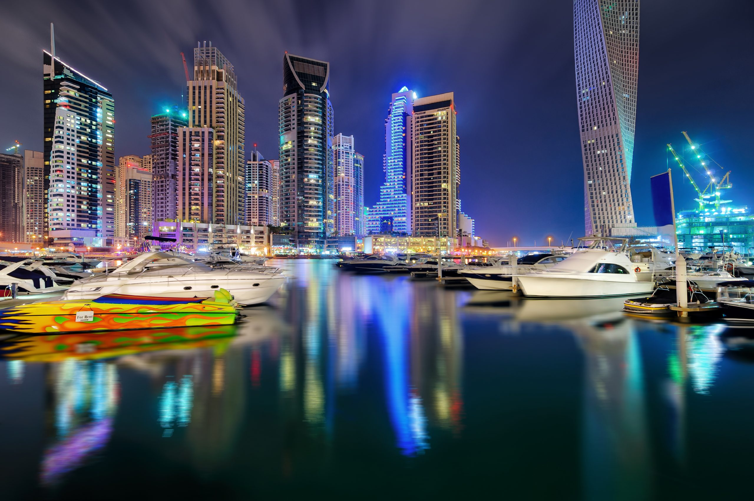 Colorful night dubai marina skyline, Dubai, United Arab Emirates